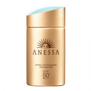 Kem chống nắng Anessa màu vàng đồng Perfect UV Sunscreen Skincare Milk SPF50+ PA++++
