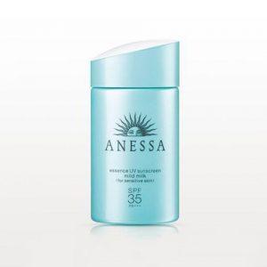 Kem chống nắng Anessa màu xanh Essence UV Sunscreen Mild Milk SPF 35+